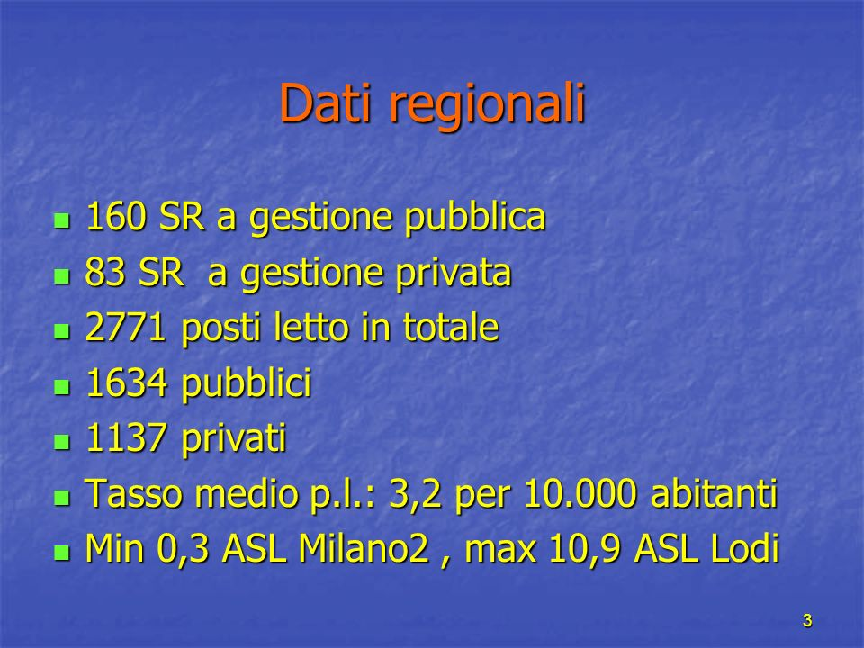 Dati regionali 160 SR a gestione pubblica 83 SR a gestione privata