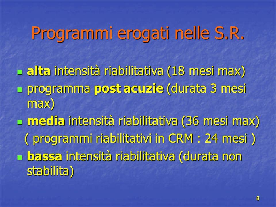 Programmi erogati nelle S.R.