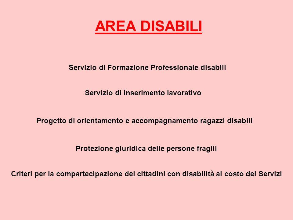 AREA DISABILI Servizio di Formazione Professionale disabili