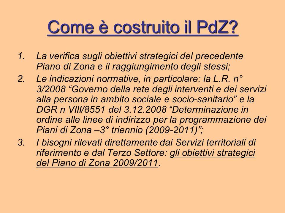 Come è costruito il PdZ La verifica sugli obiettivi strategici del precedente Piano di Zona e il raggiungimento degli stessi;