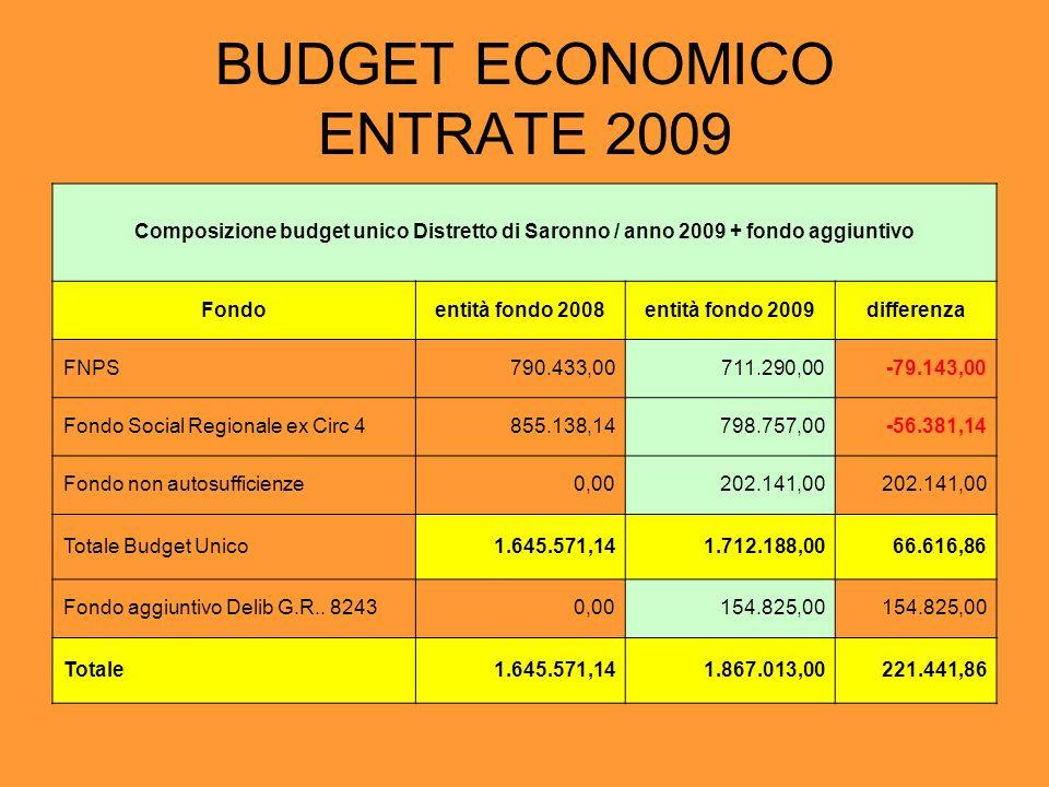 BUDGET ECONOMICO ENTRATE 2009