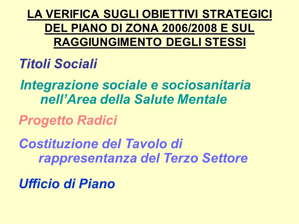 Integrazione sociale e sociosanitaria nell'Area della Salute Mentale