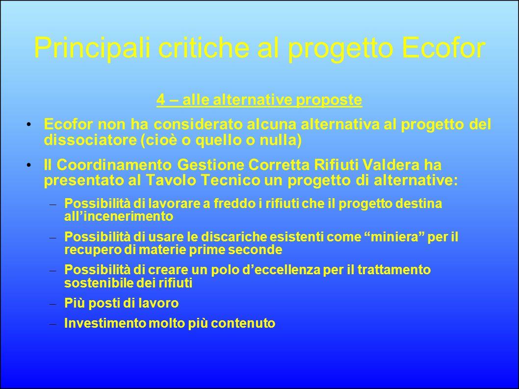 Principali critiche al progetto Ecofor