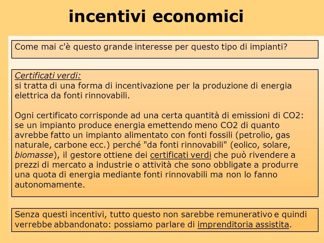 incentivi economici Come mai c è questo grande interesse per questo tipo di impianti Certificati verdi: