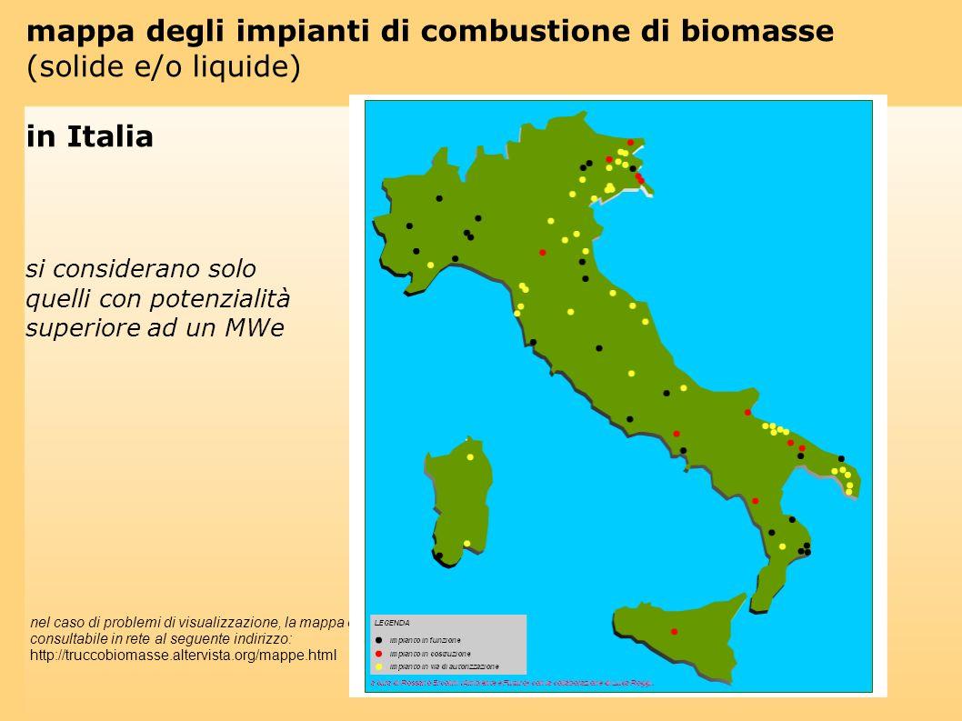 mappa degli impianti di combustione di biomasse (solide e/o liquide)