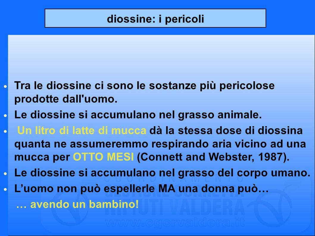 diossine: i pericoli Tra le diossine ci sono le sostanze più pericolose prodotte dall uomo. Le diossine si accumulano nel grasso animale.