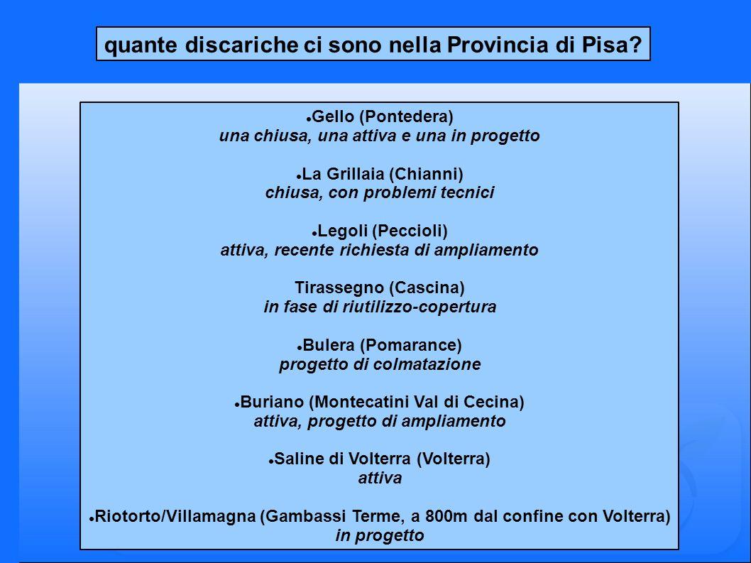 quante discariche ci sono nella Provincia di Pisa