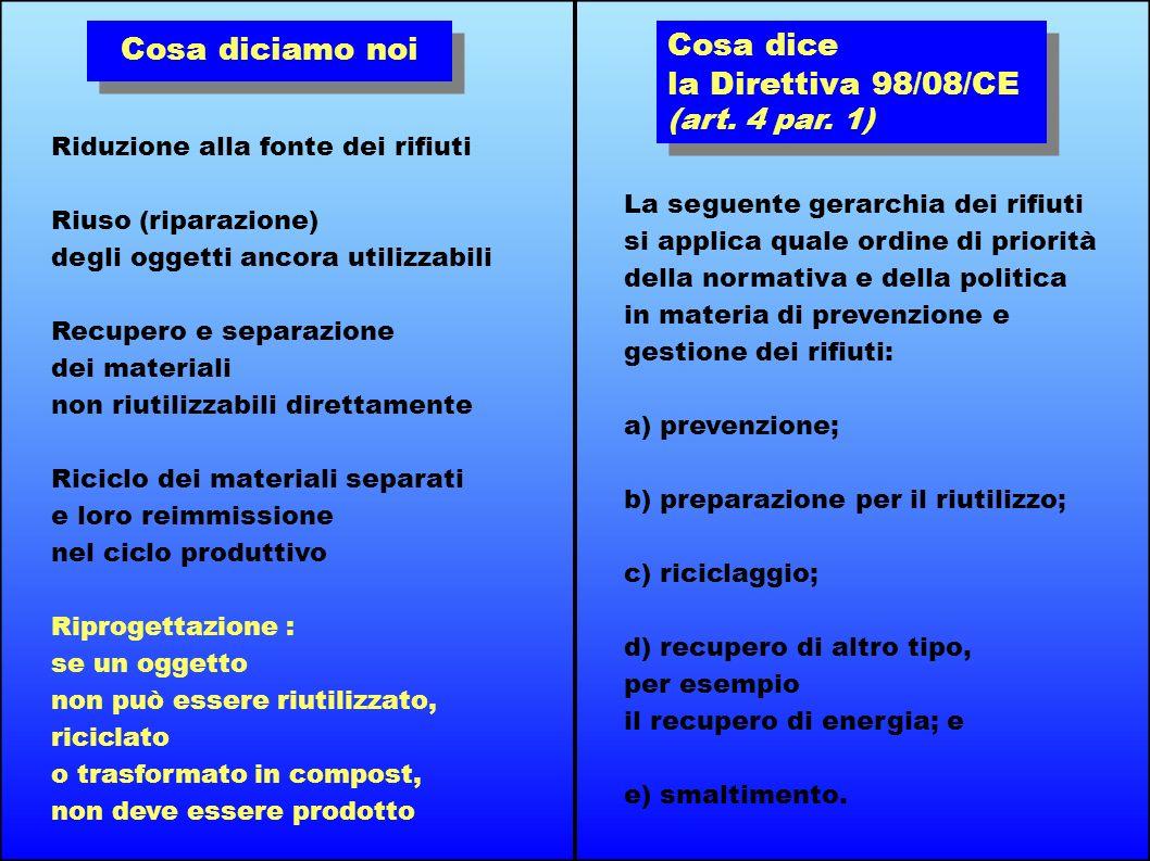 Cosa diciamo noi Cosa dice la Direttiva 98/08/CE (art. 4 par. 1)