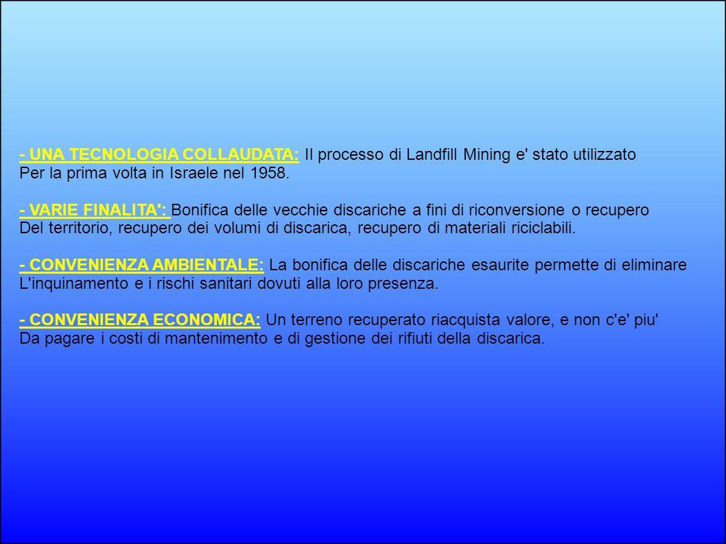 - UNA TECNOLOGIA COLLAUDATA: Il processo di Landfill Mining e stato utilizzato