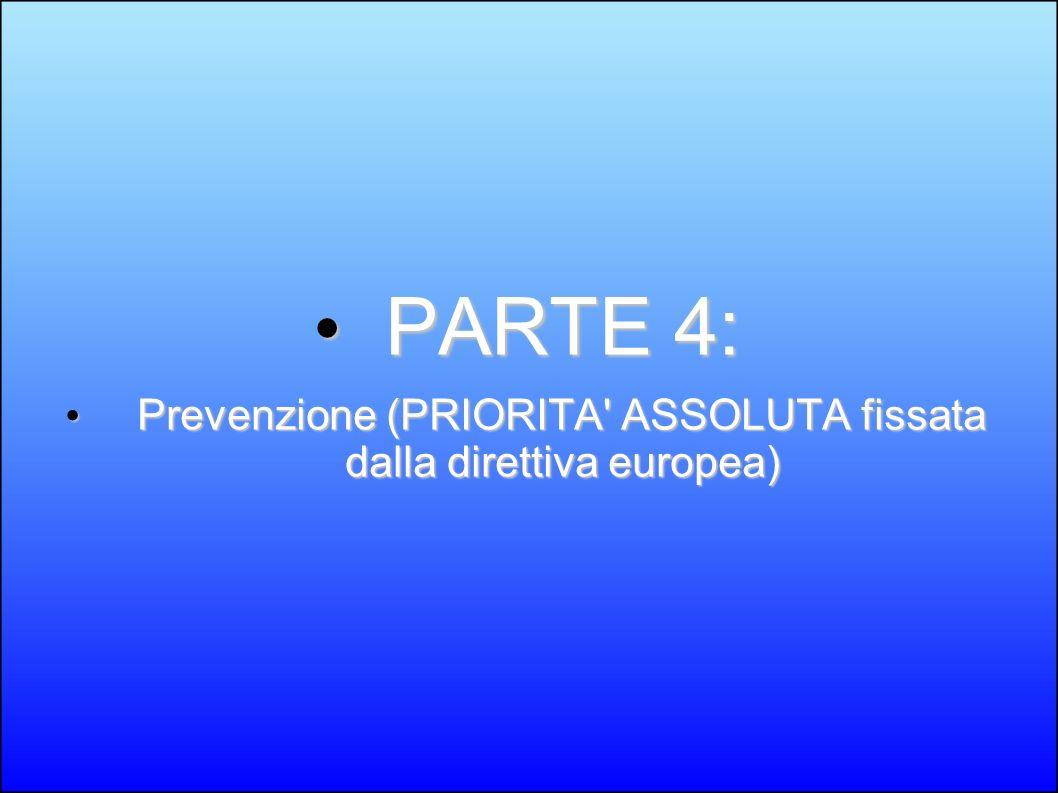 Prevenzione (PRIORITA ASSOLUTA fissata dalla direttiva europea)