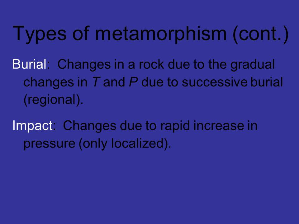 Types of metamorphism (cont.)