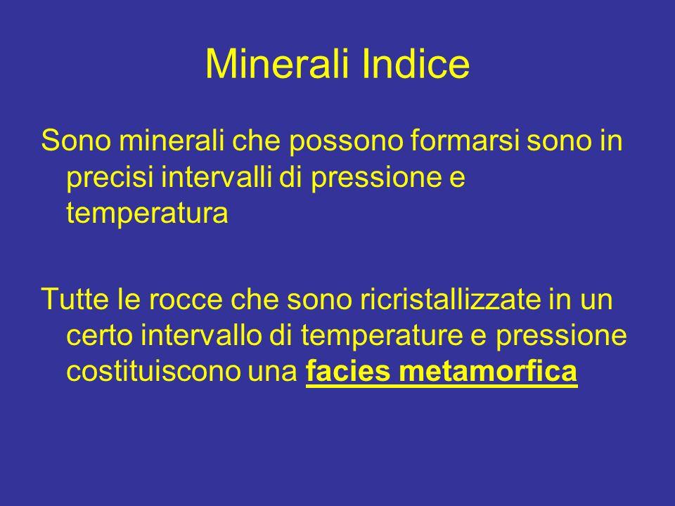 Minerali Indice Sono minerali che possono formarsi sono in precisi intervalli di pressione e temperatura.