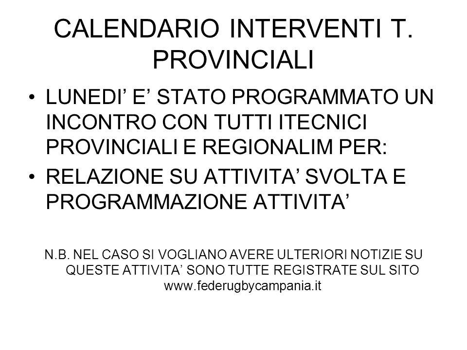 CALENDARIO INTERVENTI T. PROVINCIALI