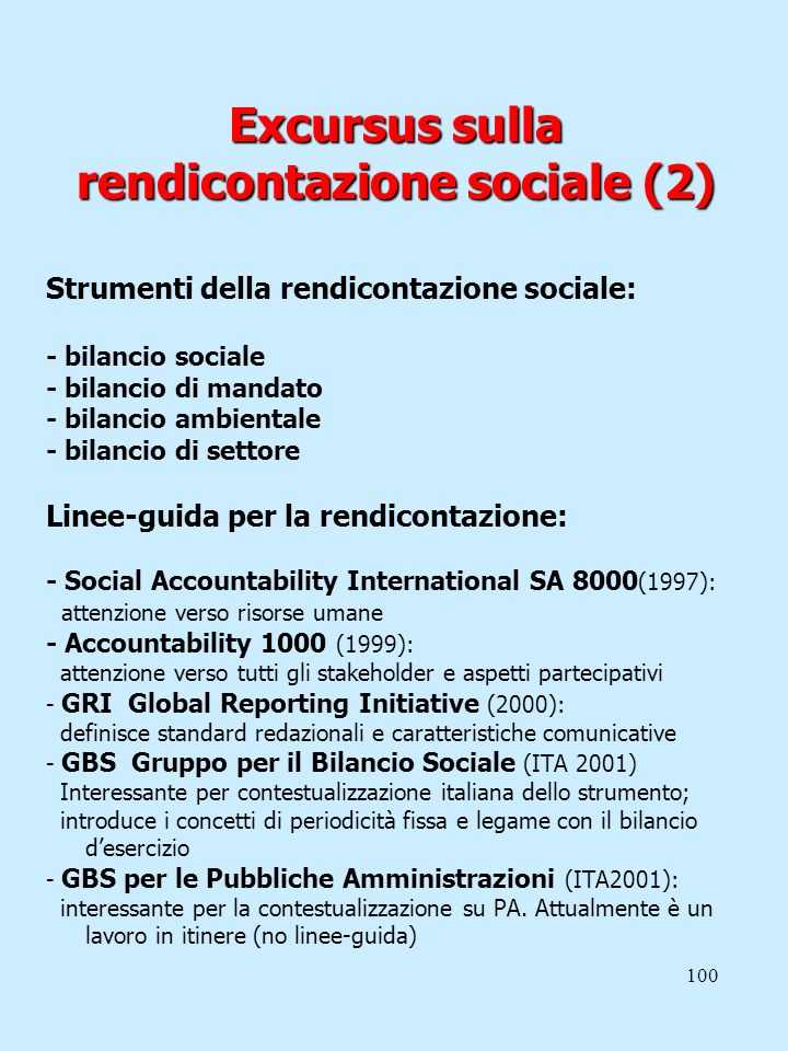 Excursus sulla rendicontazione sociale (2)