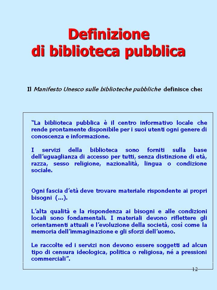 Definizione di biblioteca pubblica