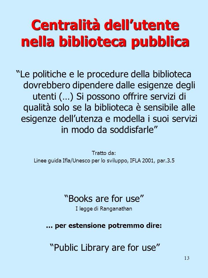 Centralità dell'utente nella biblioteca pubblica