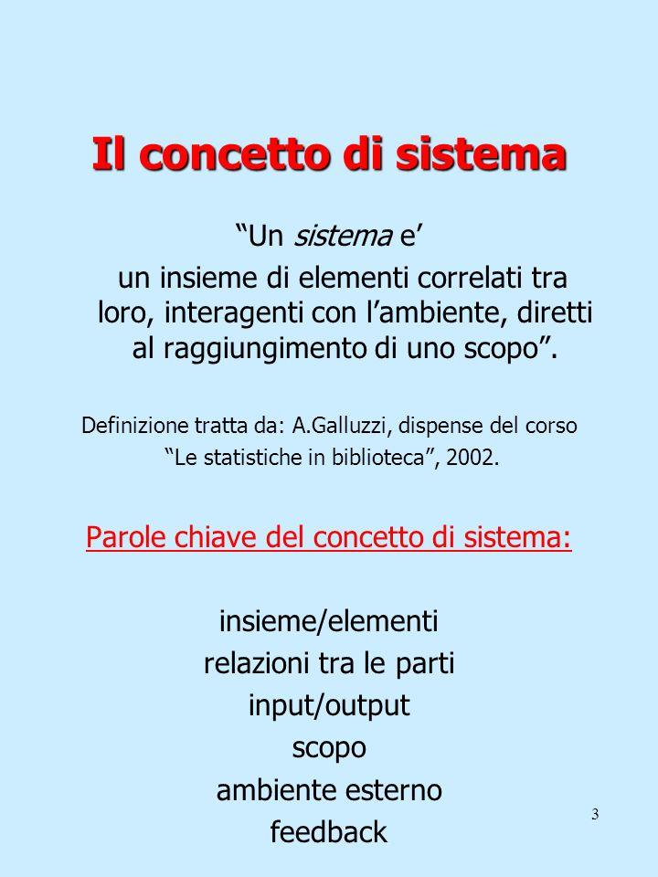 Il concetto di sistema Un sistema e'