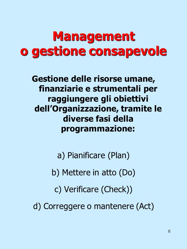 Management o gestione consapevole