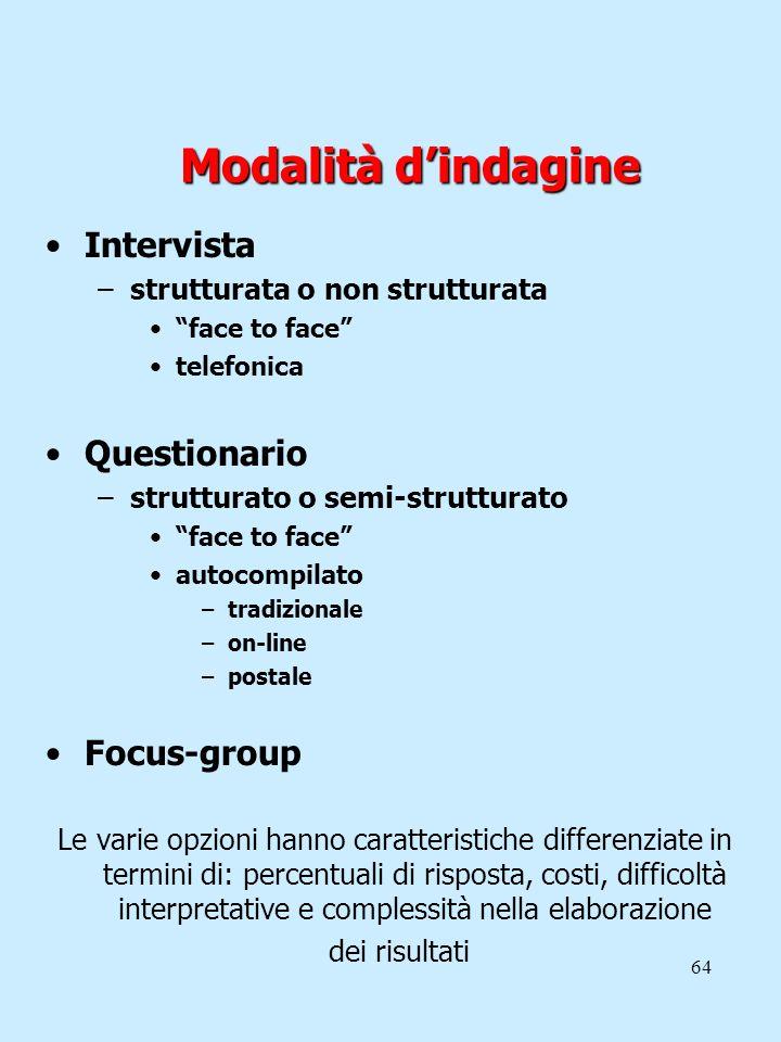 Modalità d'indagine Intervista Questionario Focus-group