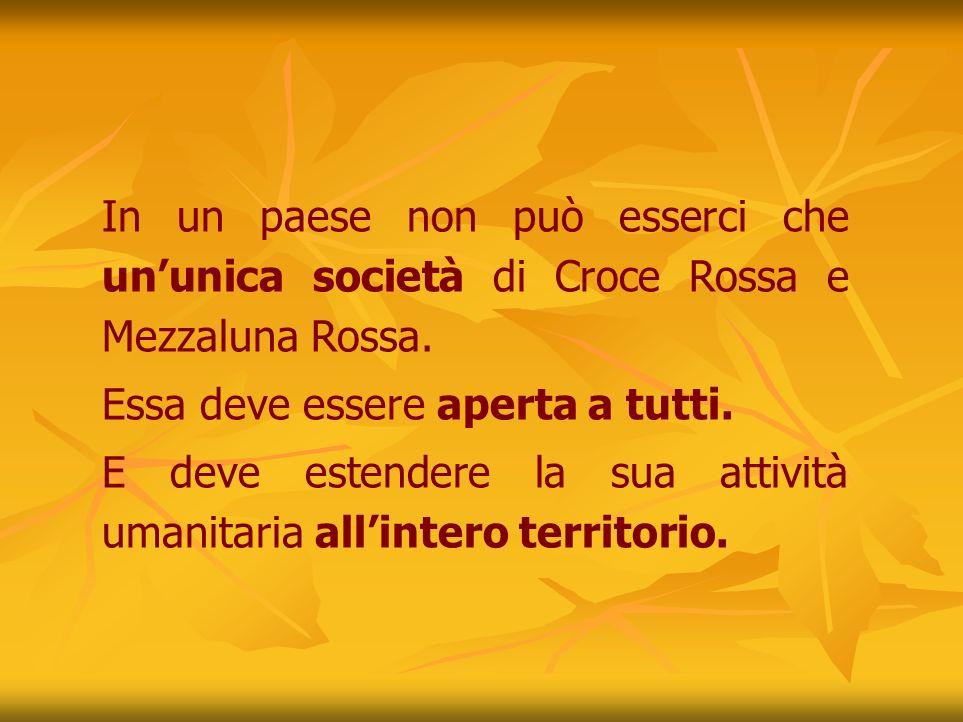 In un paese non può esserci che un'unica società di Croce Rossa e Mezzaluna Rossa.