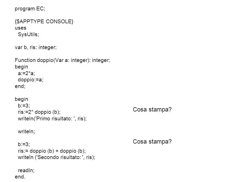 Cosa stampa Cosa stampa program EC; {$APPTYPE CONSOLE} uses
