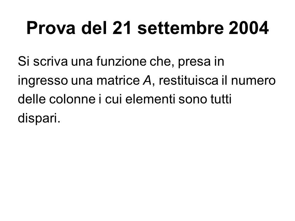 Prova del 21 settembre 2004 Si scriva una funzione che, presa in