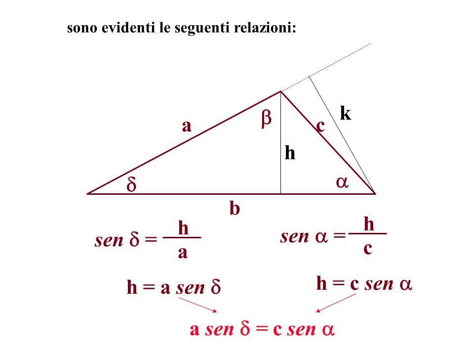 k  a c h   b sen  = c h sen  = a h h = c sen  h = a sen 