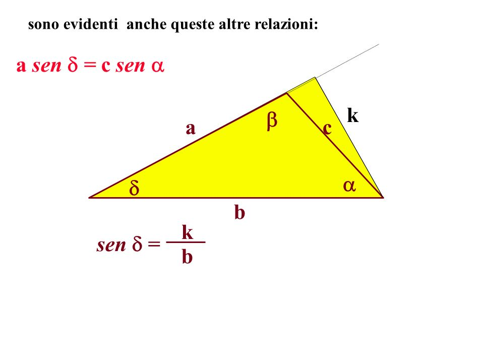 a sen = c sen  k  a c   b sen  = b k