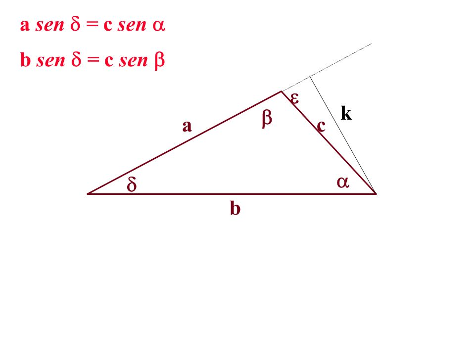 a sen = c sen  b sen = c sen   k  a c   b