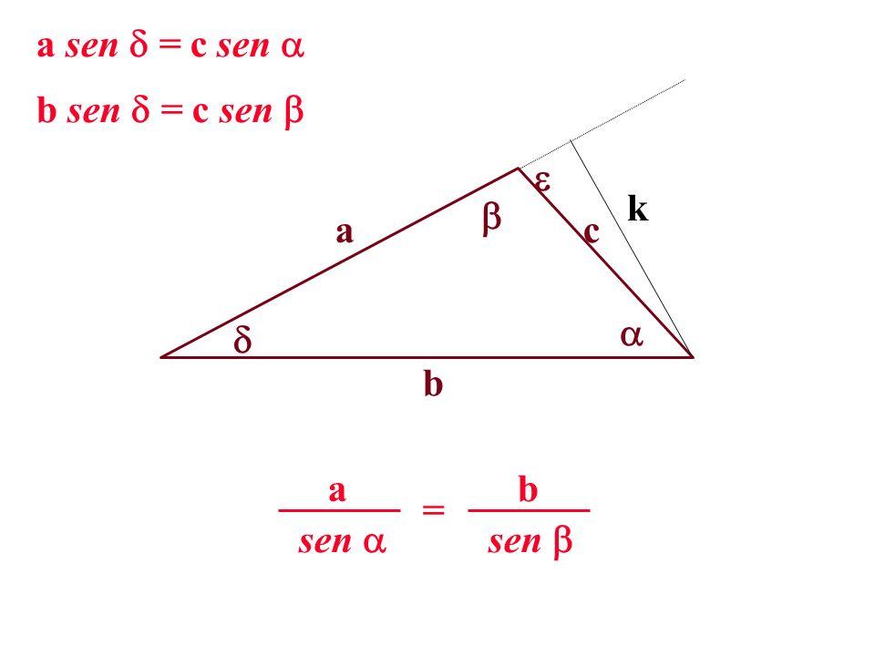 a sen = c sen  b sen = c sen   k  a c   b sen  a sen  b =