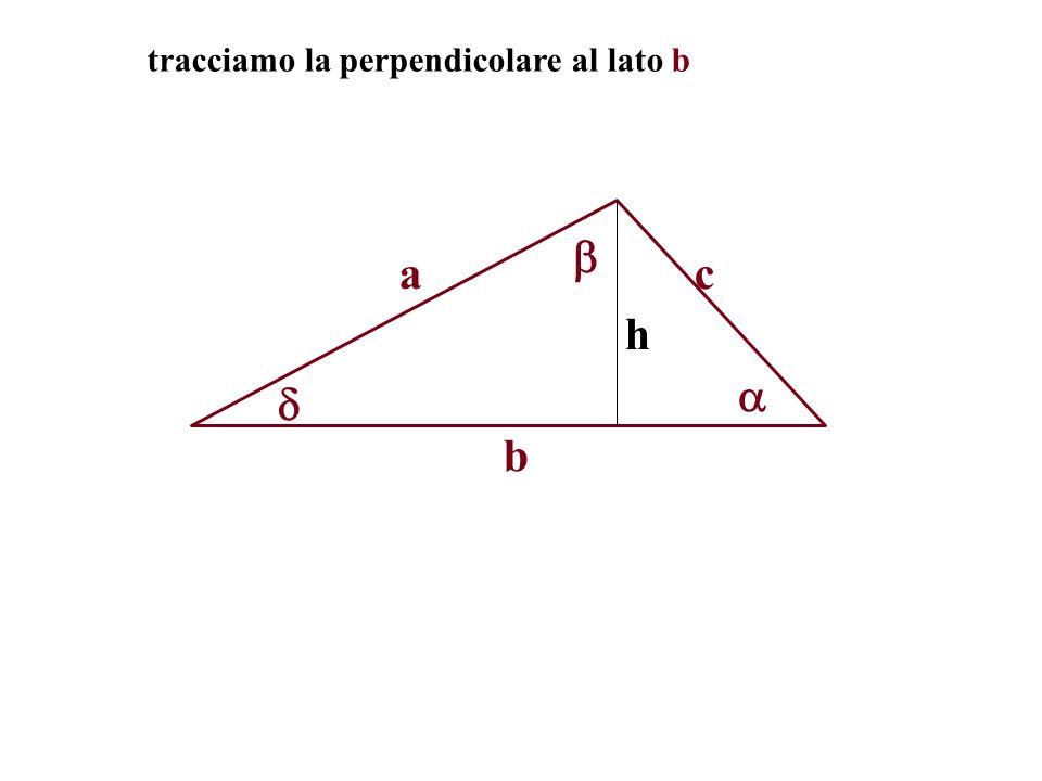 tracciamo la perpendicolare al lato b
