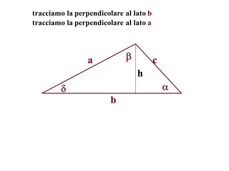 a c h   b tracciamo la perpendicolare al lato b