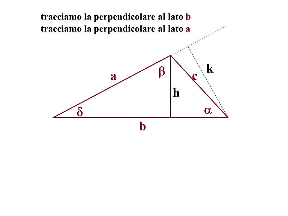 k  a c h   b tracciamo la perpendicolare al lato b