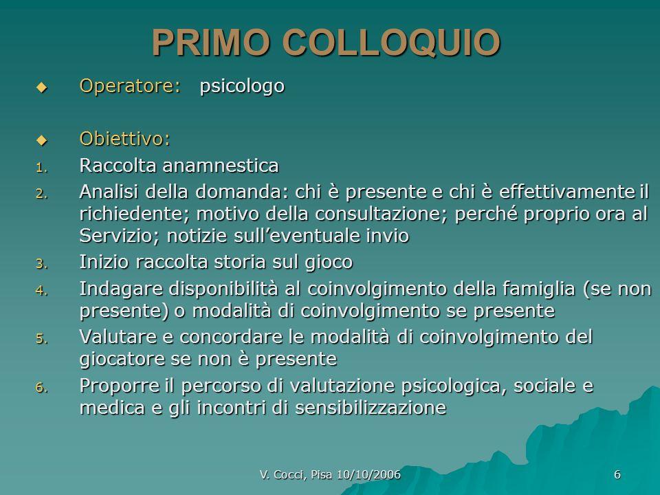 PRIMO COLLOQUIO Operatore: psicologo Obiettivo: Raccolta anamnestica