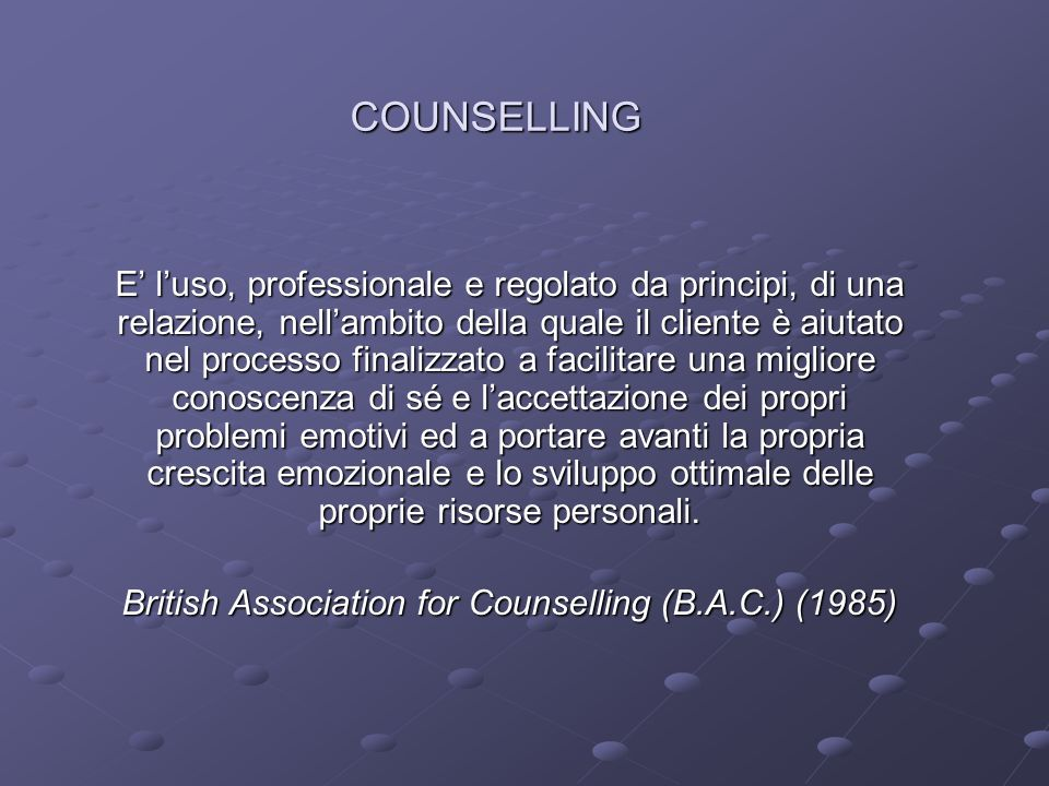 British Association for Counselling (B.A.C.) (1985)