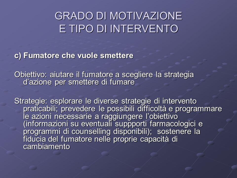 GRADO DI MOTIVAZIONE E TIPO DI INTERVENTO