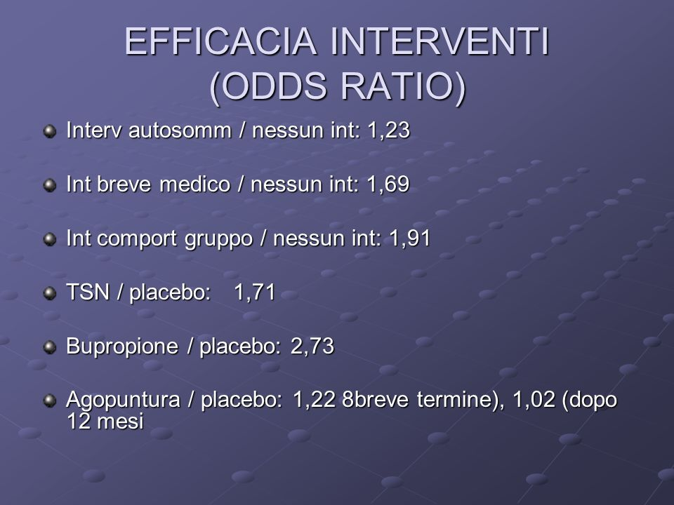 EFFICACIA INTERVENTI (ODDS RATIO)