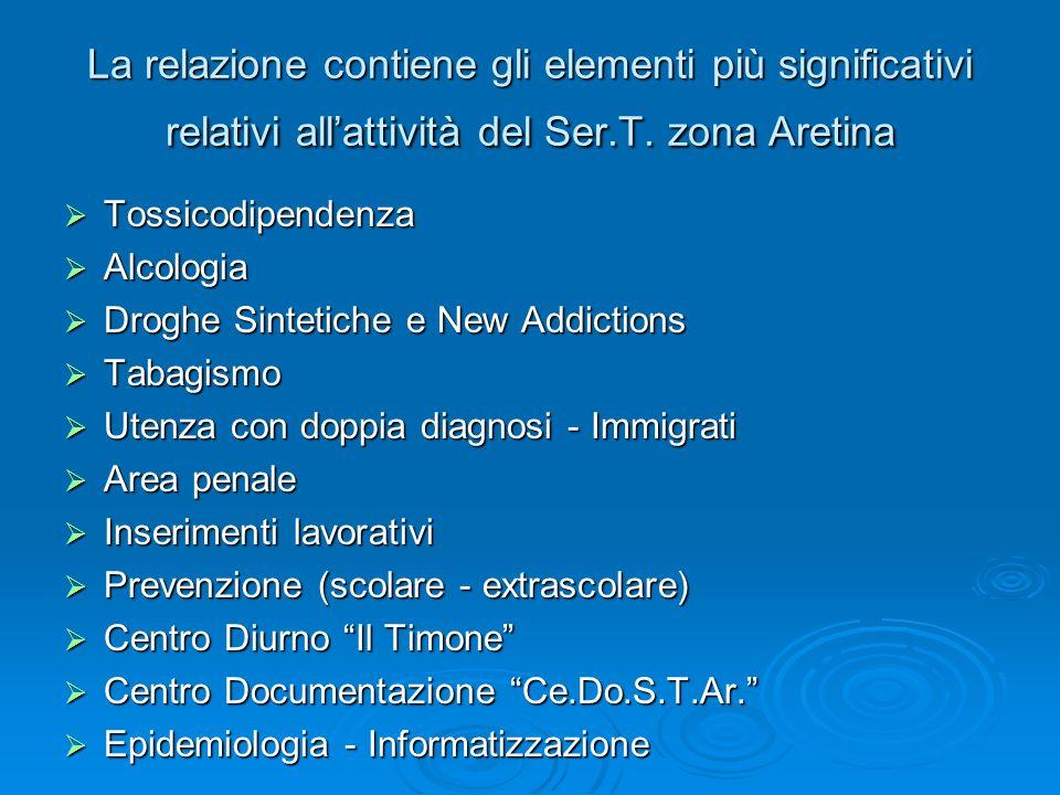La relazione contiene gli elementi più significativi relativi all'attività del Ser.T. zona Aretina