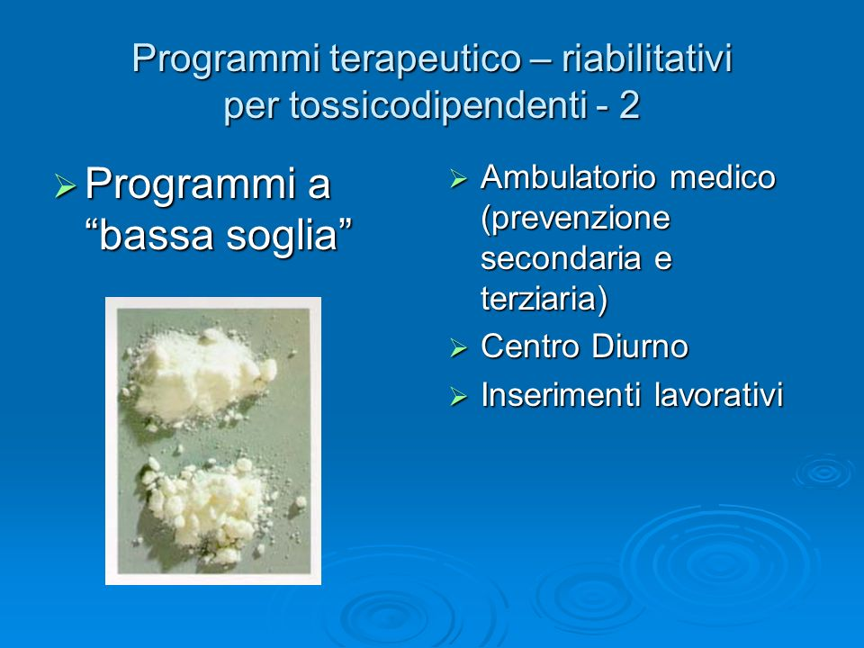Programmi terapeutico – riabilitativi per tossicodipendenti - 2