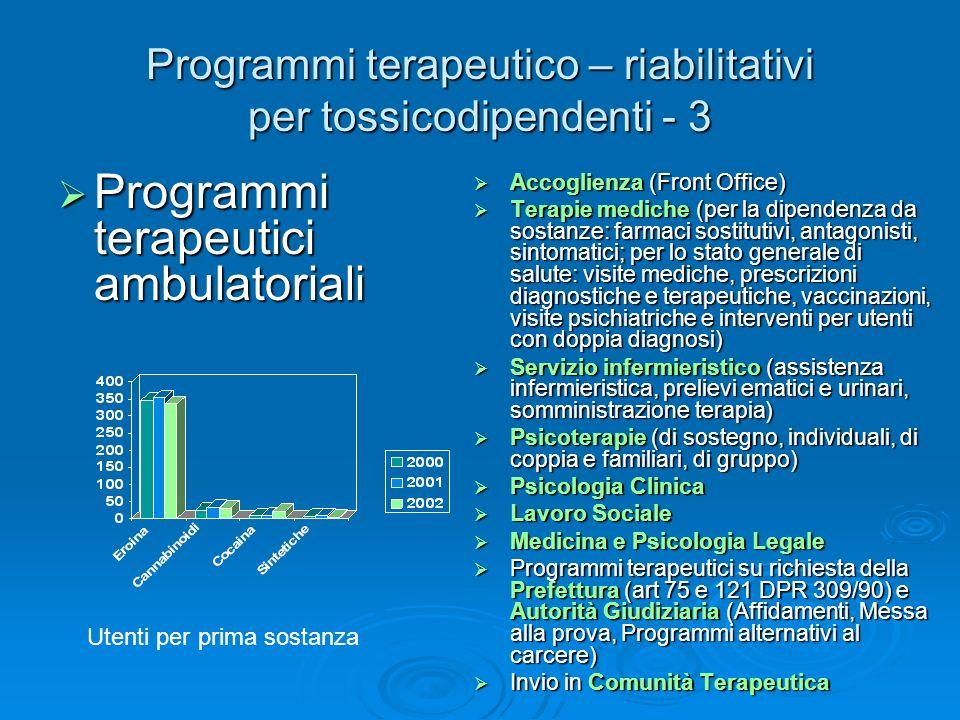 Programmi terapeutico – riabilitativi per tossicodipendenti - 3