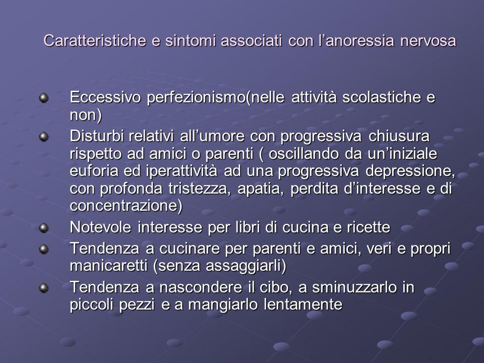 Caratteristiche e sintomi associati con l'anoressia nervosa