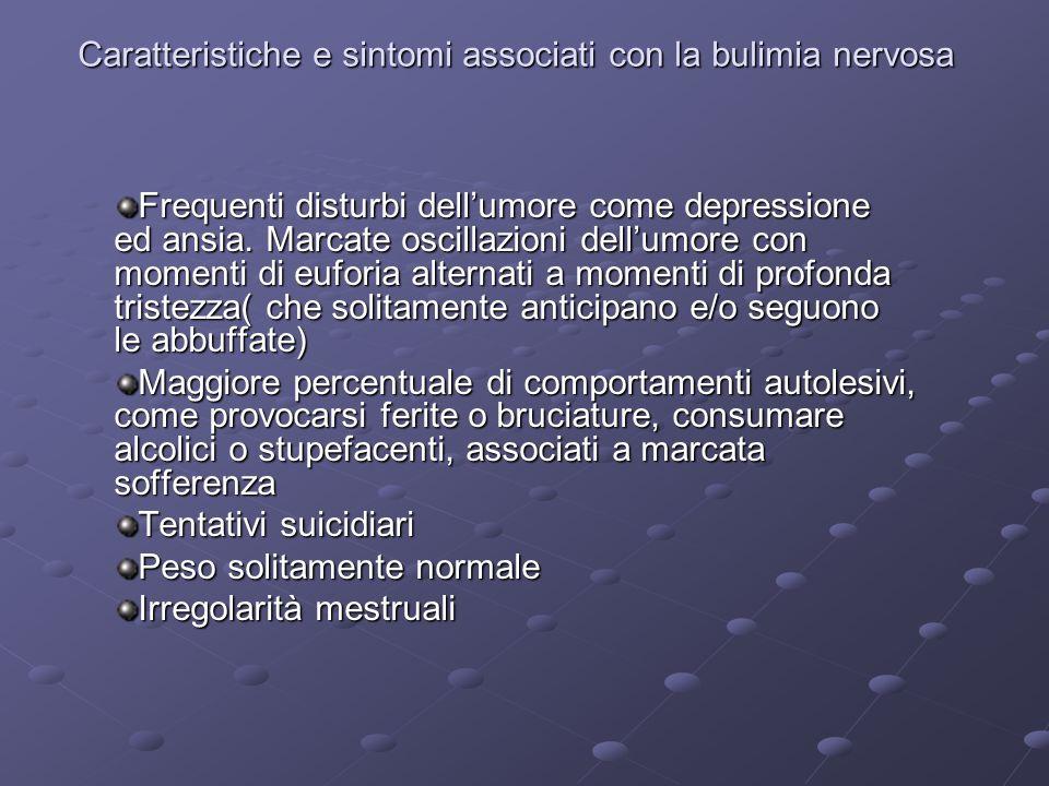 Caratteristiche e sintomi associati con la bulimia nervosa