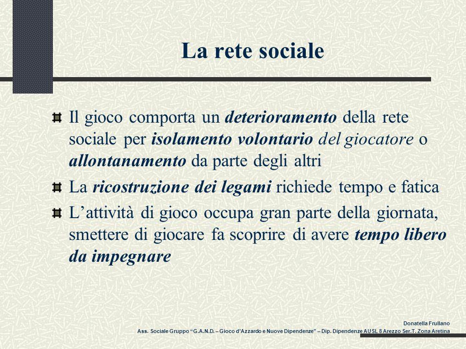 La rete sociale Il gioco comporta un deterioramento della rete sociale per isolamento volontario del giocatore o allontanamento da parte degli altri.
