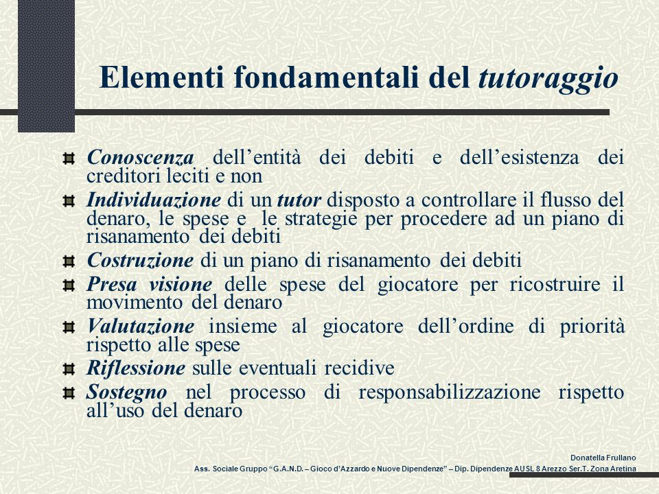Elementi fondamentali del tutoraggio