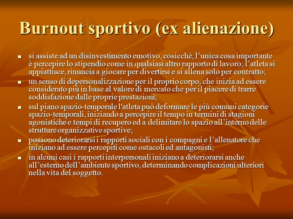 Burnout sportivo (ex alienazione)