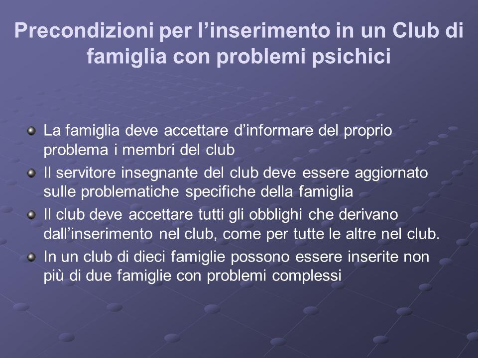Precondizioni per l'inserimento in un Club di famiglia con problemi psichici
