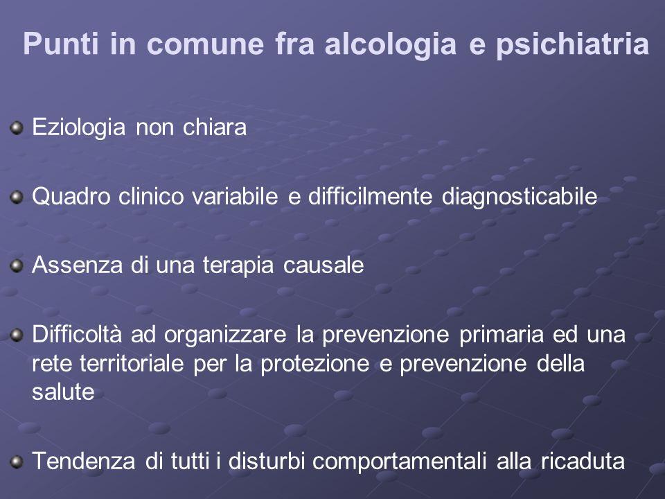 Punti in comune fra alcologia e psichiatria