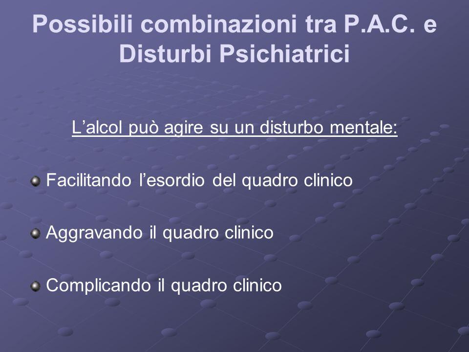 Possibili combinazioni tra P.A.C. e Disturbi Psichiatrici