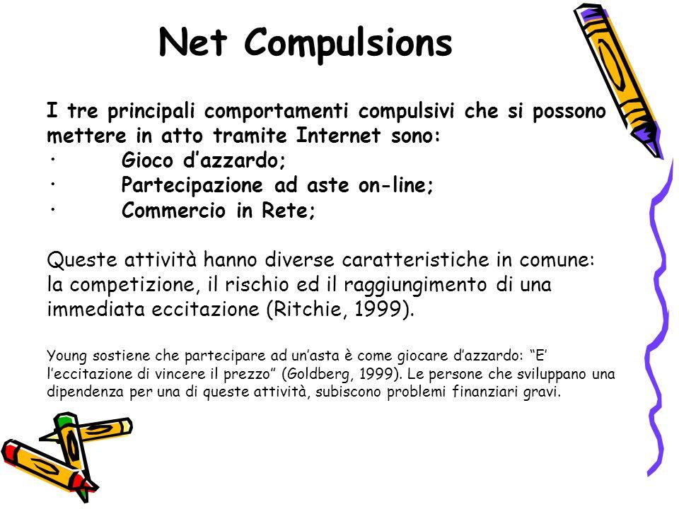 Net Compulsions I tre principali comportamenti compulsivi che si possono mettere in atto tramite Internet sono: