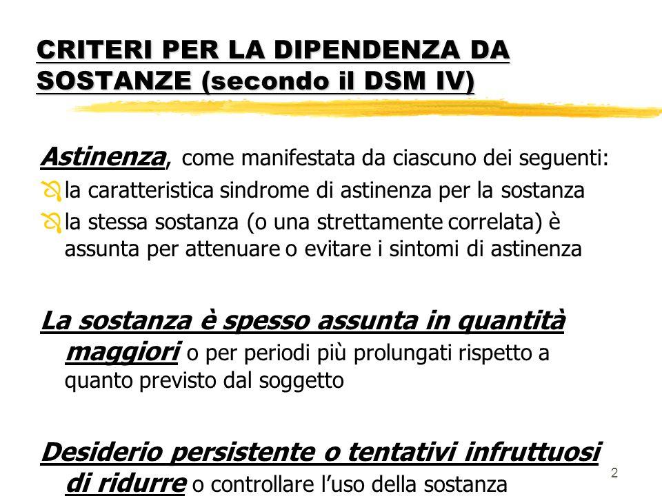 CRITERI PER LA DIPENDENZA DA SOSTANZE (secondo il DSM IV)